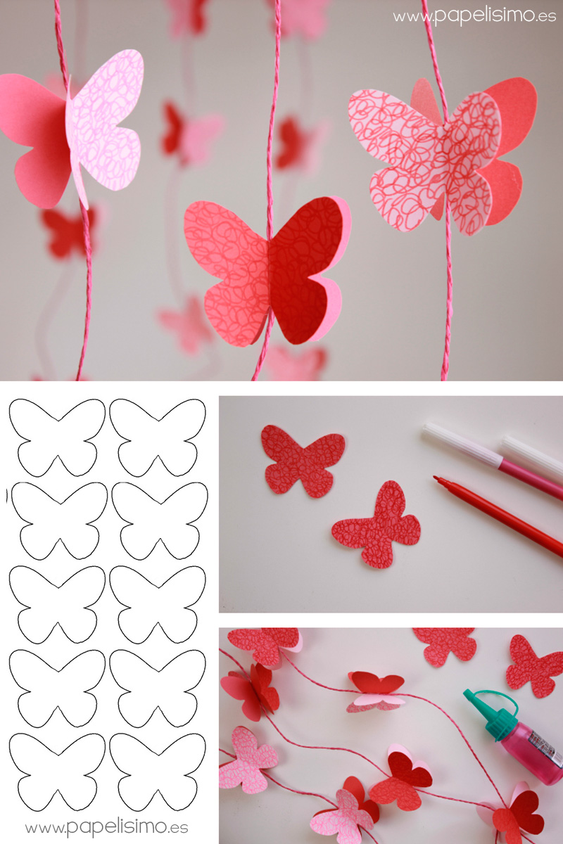 Paper butterfly wall decor ideas knitting crochet d y - Manualidades de papel para decorar ...