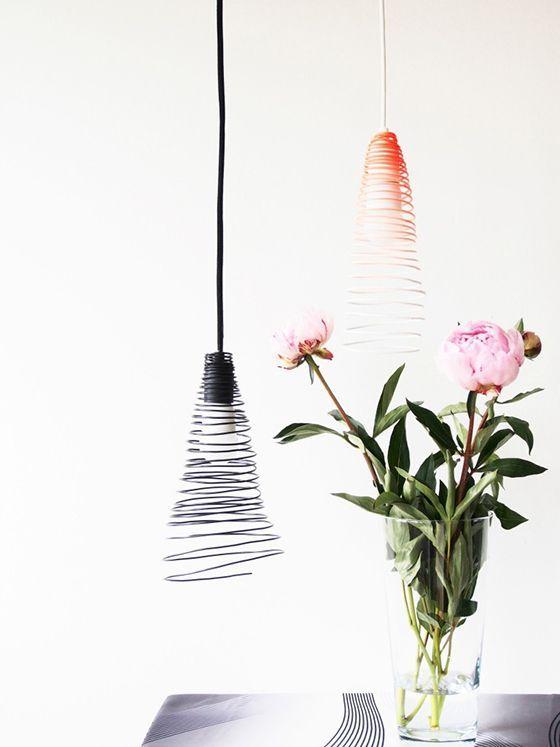 lámpara alambre embudo metalica