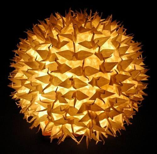 lampara origami grullas de papel hecha a mano