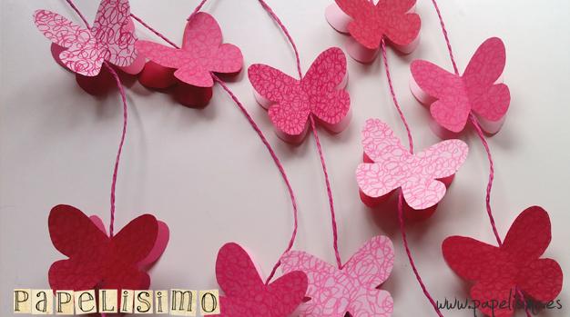 Guirnalda mariposas de papel papelisimo - Como hacer mariposas de papel para decorar paredes ...