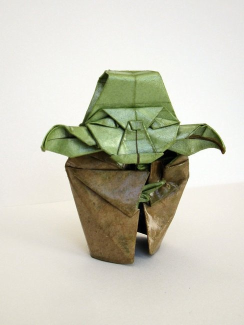 yoda origami papel
