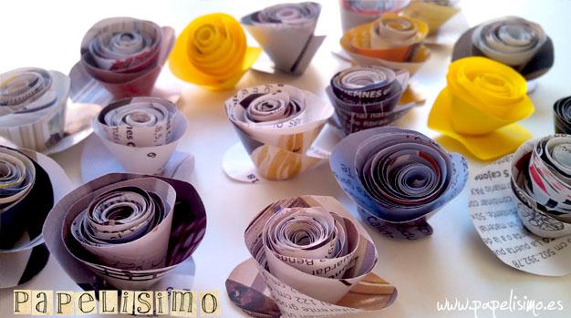 flores papel revistas flower paper 1