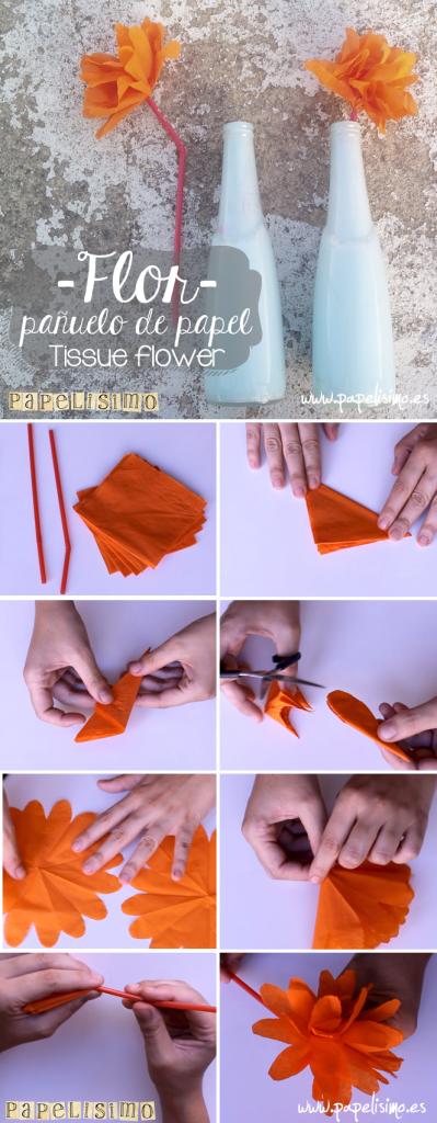 Pasos flores de papel pañuelo flower tissue