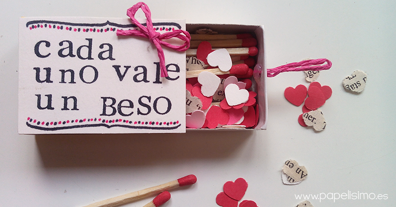caja de cerillas corazones papel san valentin