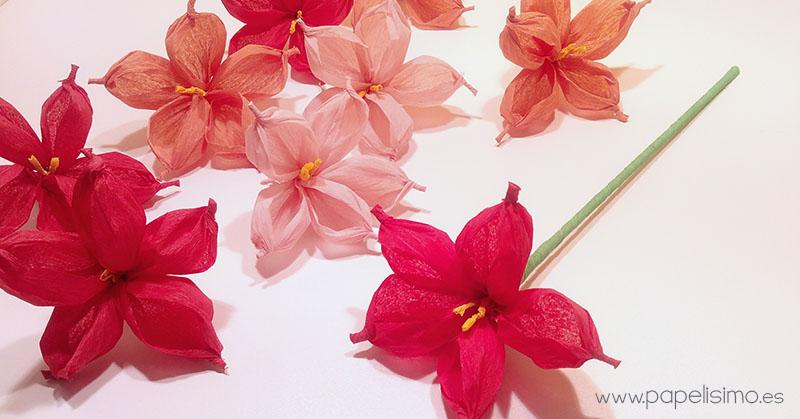 Flor de papel con papel de seda o crespn PAPELISIMO