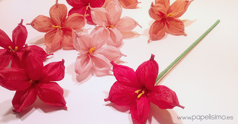 Flor de papel con papel de seda o cresp n papelisimo - Como se hacen flores de papel ...