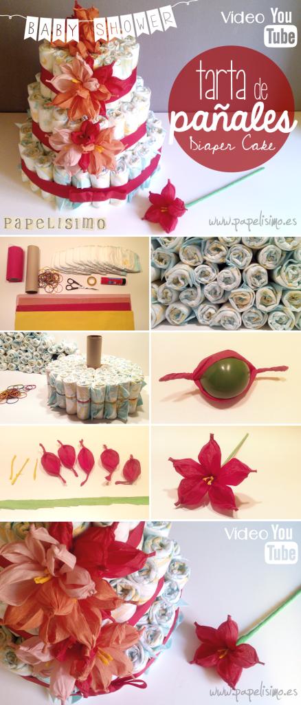 pasos como hacer tarta de pañales decorada con flores de papel en video