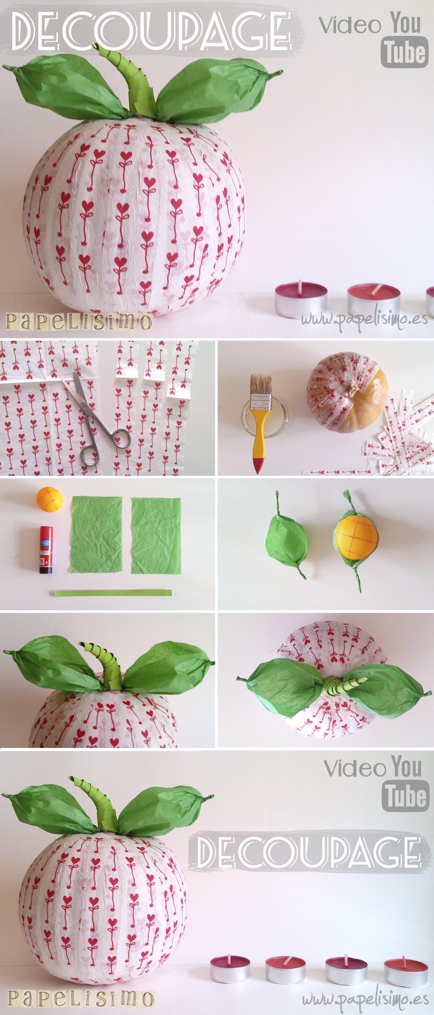 Calabaza decorada con decoupage papelisimo - Calabazas decoradas manualidades ...