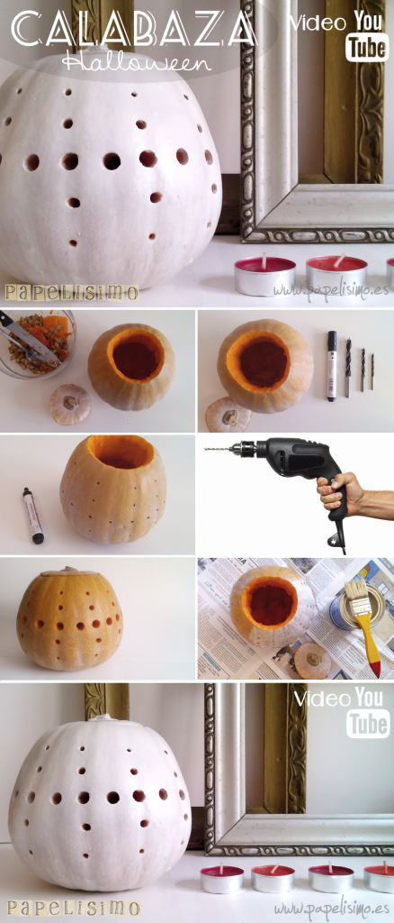 manualidades faciles calabaza taladro halloween DIY pumpkin pasos