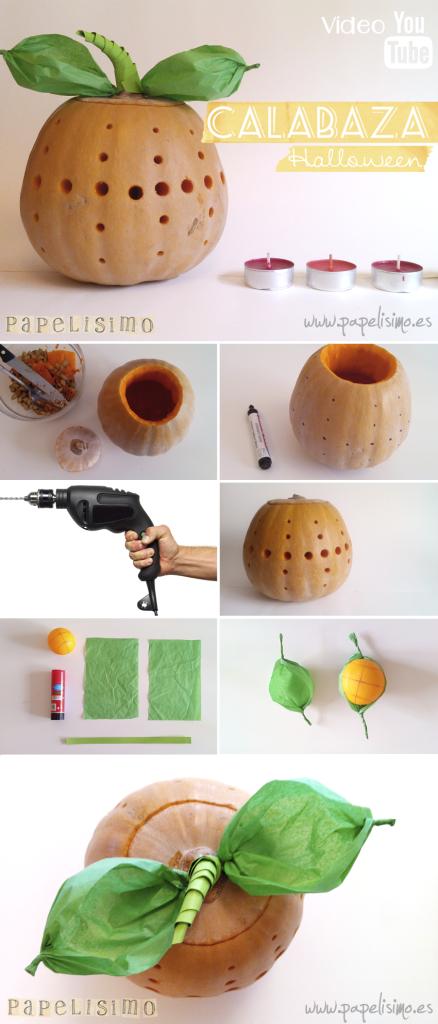 manualidades faciles calabaza taladro hojas papel halloween DIY pumpkin pasos