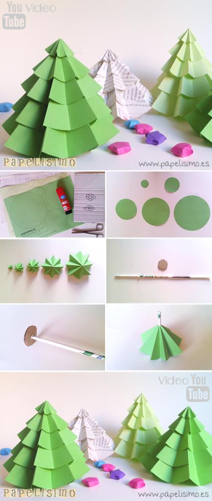 manualidades faciles como hacer arbol navidad papel diy paper christmas tree