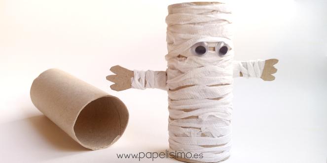 manualidades-faciles-niños-como-hacer-momia-papel-halloween-DIY-paper-mummy-papelisimo