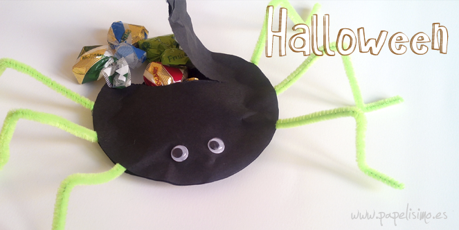 manualidades faciles niños como hacer araña de papel halloween DIY paper spider