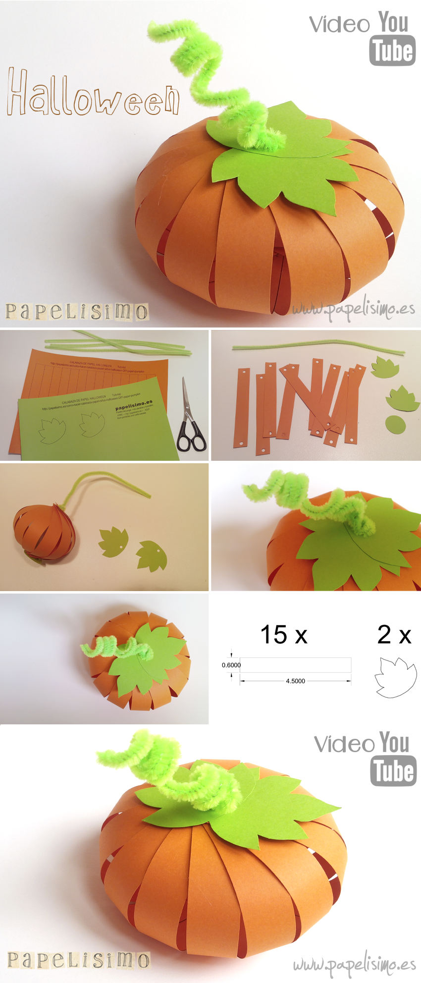 Calabaza de papel halloween papelisimo - Manualidades de ninos faciles ...