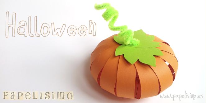 manualidades faciles niños como hacer calabaza de papel halloween DIY paper pumpkin