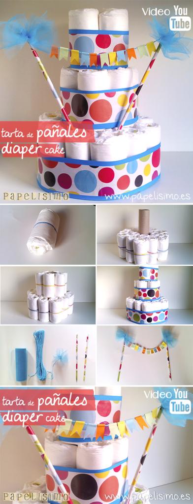 manualidades faciles tarta pañales torta bebe DIY nappy diaper cake babyshower