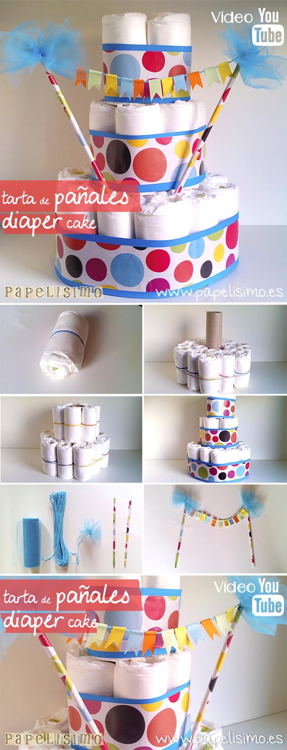 manualidades-faciles-tarta-pañales-torta-bebe-DIY-nappy-diaper-cake-babyshower