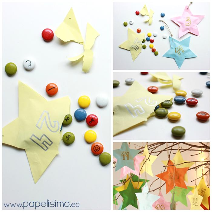 como hacer calendario de adviento niños en papel para Navidad chocolate