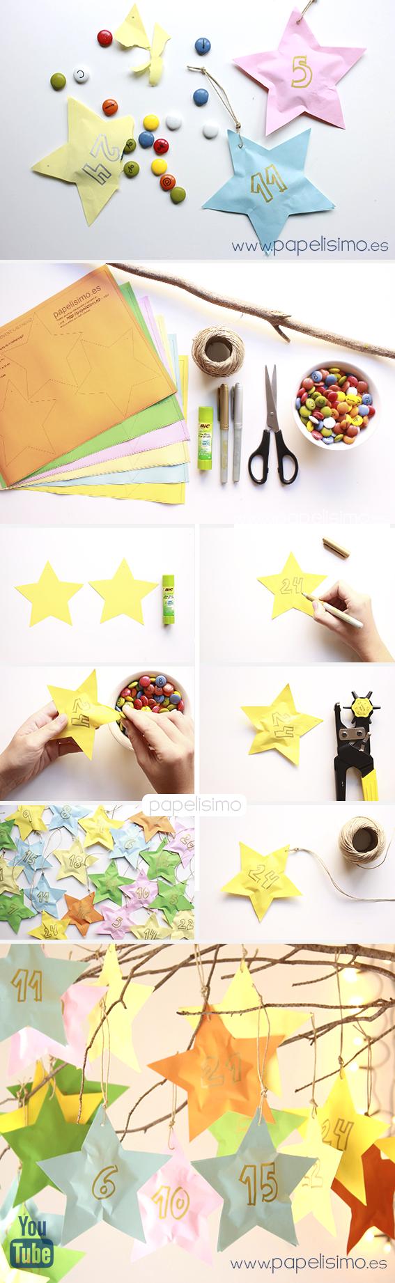 como hacer calendario de adviento niños en papel para Navidad