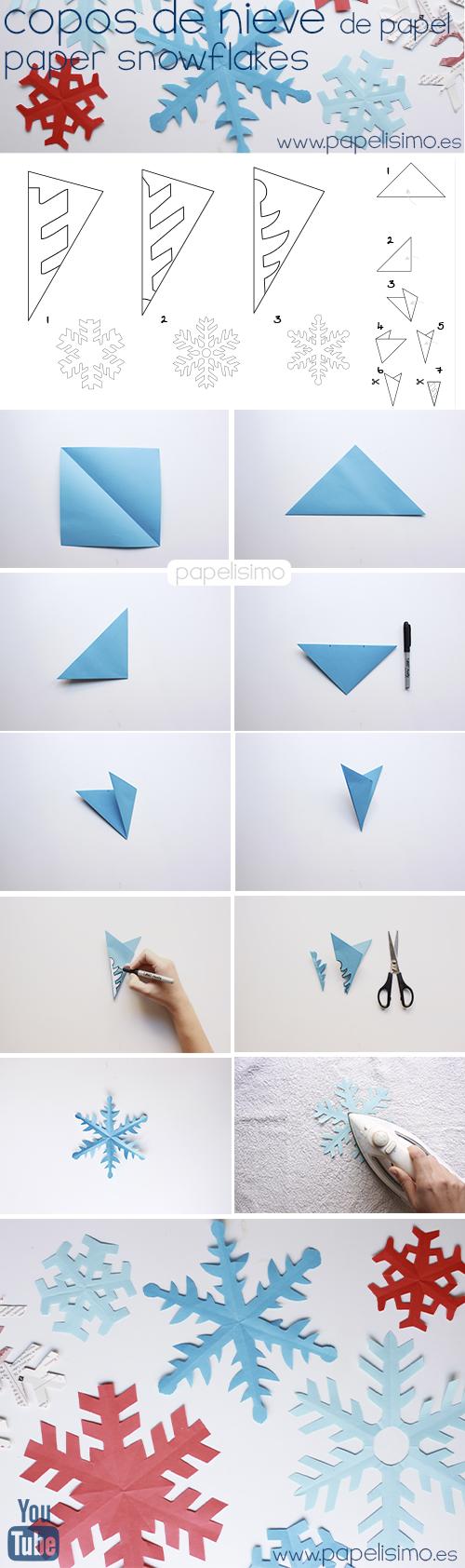 como hacer copos de nieve de papel paper snowflakes