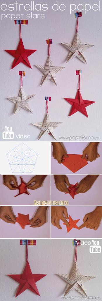 como hacer estrella de papel navidad paper star christmas
