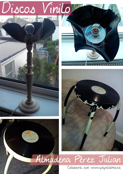 manualidades faciles decorar lampara silla con disco vinilo