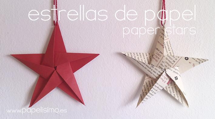 C mo hacer estrellas de papel cinco puntas papelisimo - Plantilla estrella navidad ...