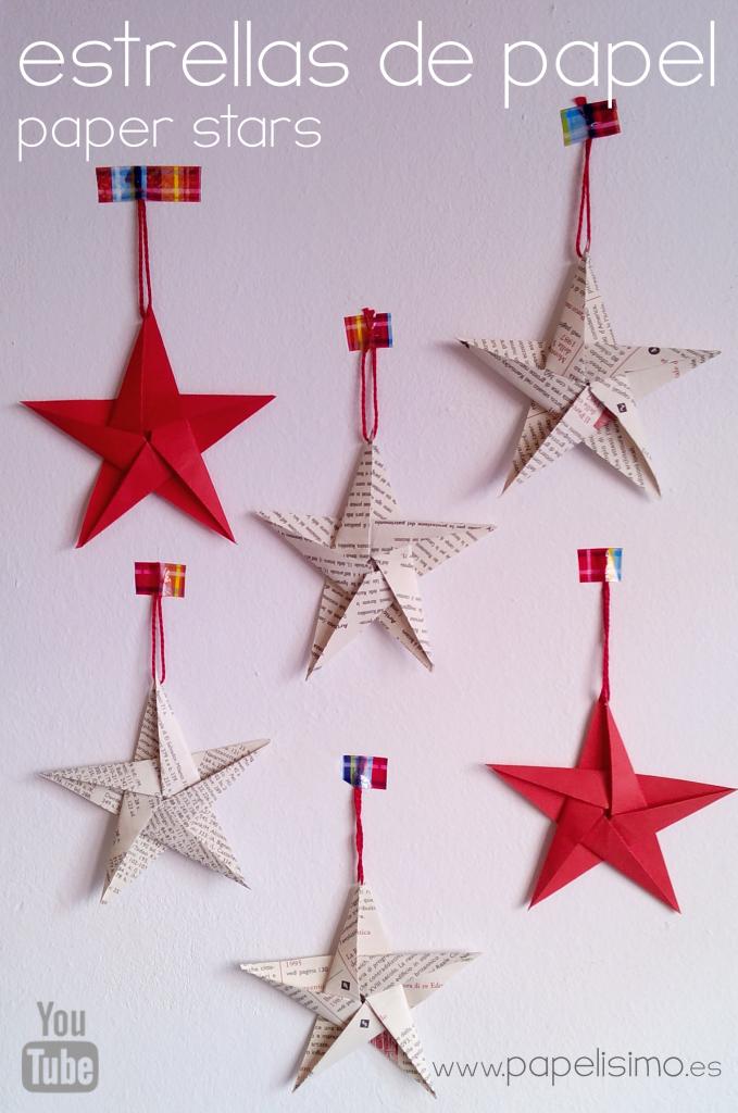 C mo hacer estrellas de papel cinco puntas papelisimo - Ideas para decorar estrellas de navidad ...