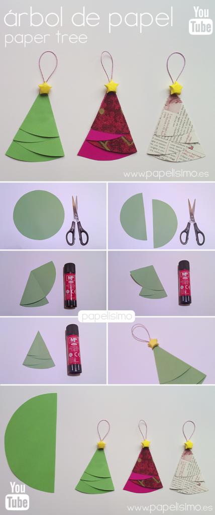 manualidades faciles niños como hacer adorno arbol de papel navidad