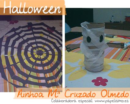 manualidades faciles niños halloween momia araña bolsa de plastico