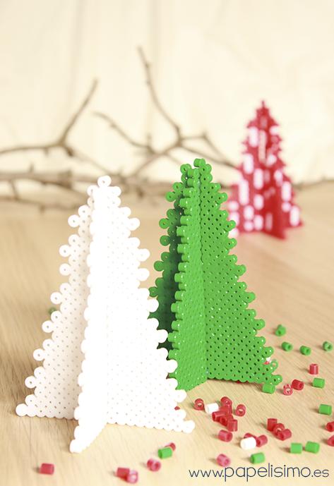 manualidades faciles niños patron como hacer arbol de navidad 3d hama beads
