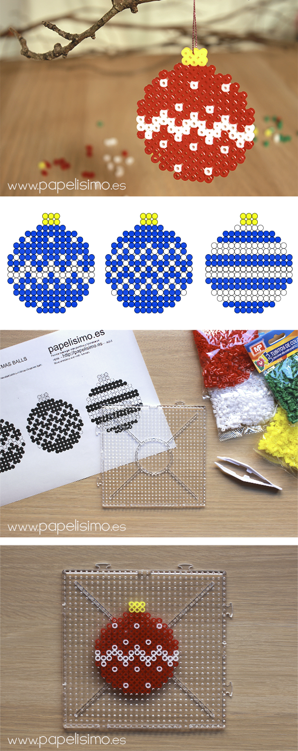 manualidades faciles niños patron diseño hama beads navidad