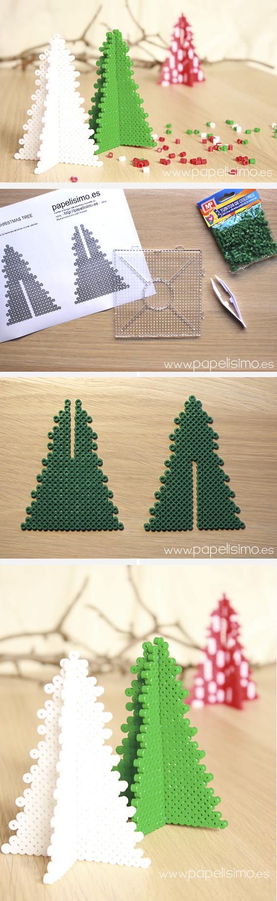 C mo hacer rbol 3d de navidad con tubitos tipo hama - Hacer arbol navidad ...