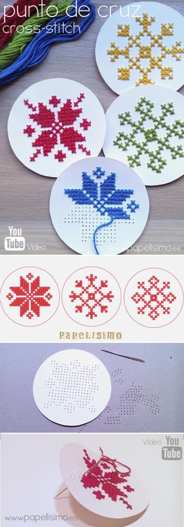 punto de cruz papel navidad paper cross stitch christmas