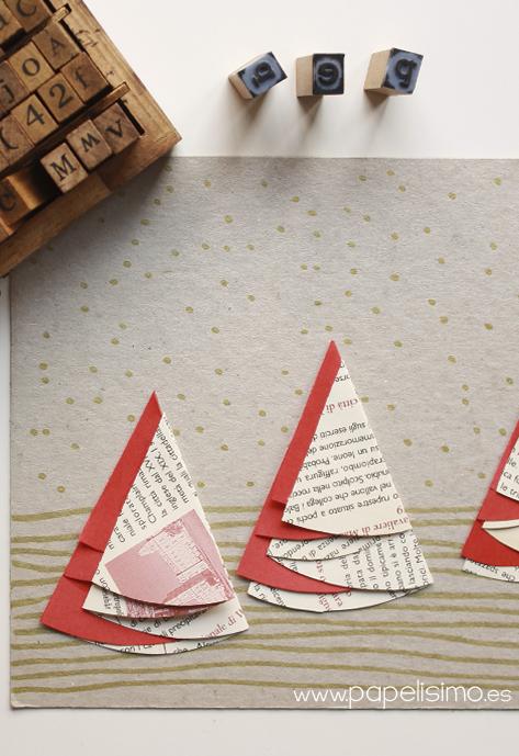 tarjetas de navidad hechas a mano originales arboles de papel scrapbooking reciclado