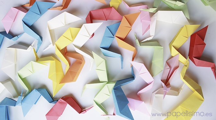 Pajaro de papel colores manualidades faciles niños Animales de Origami