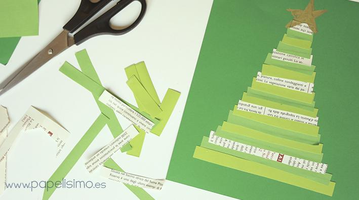 Tarjetas navideñas fáciles para niños hechas a mano tiras de papel