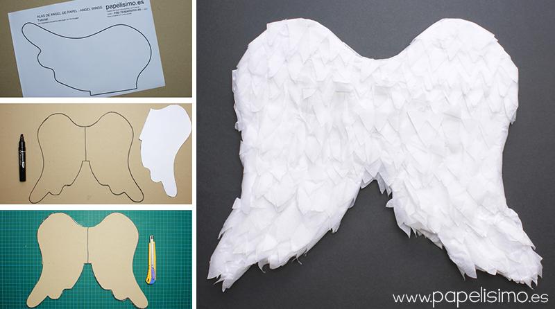 alas de angel de papel niño paper angel wings carton
