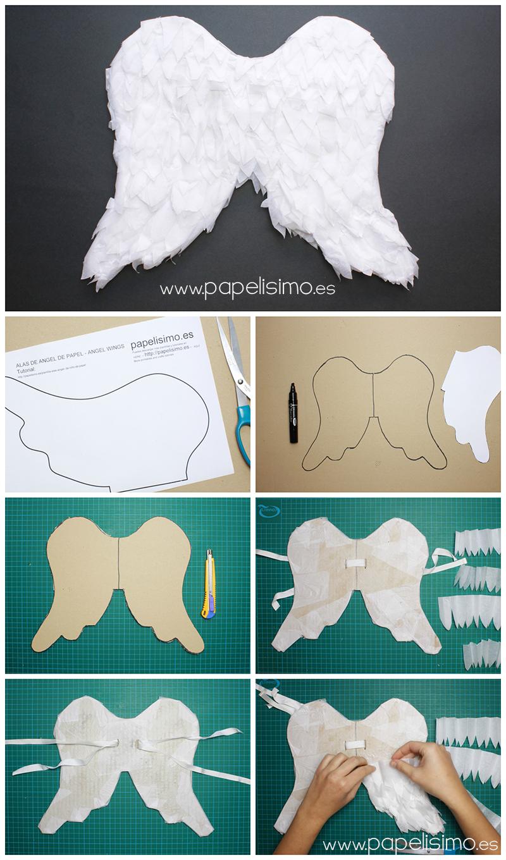 como hacer alas de angel de papel niño paper angel wings