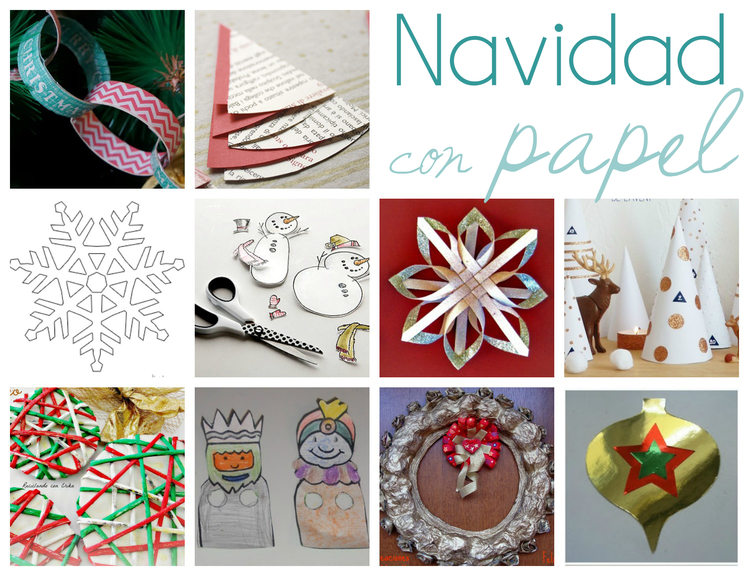 10 manualidades navide as con papel papelisimo for Decoracion de navidad con papel