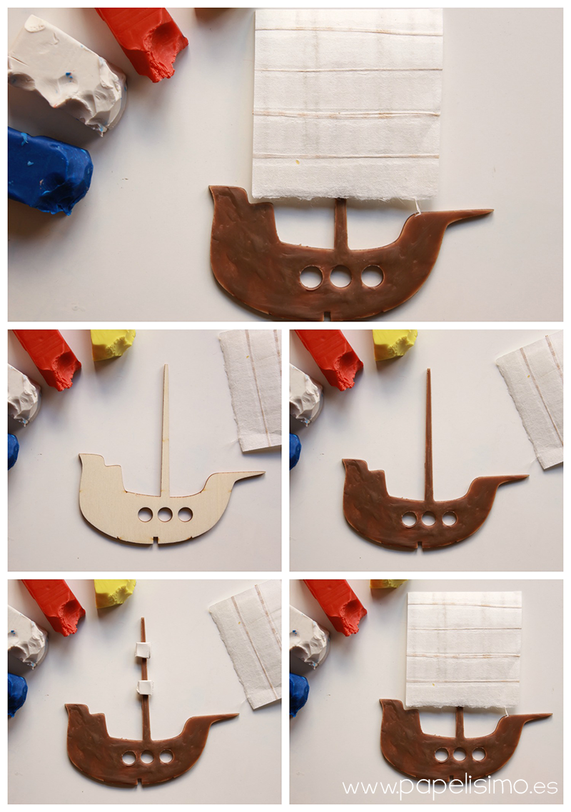manualidades niño teatro con caja de carton barco pirata