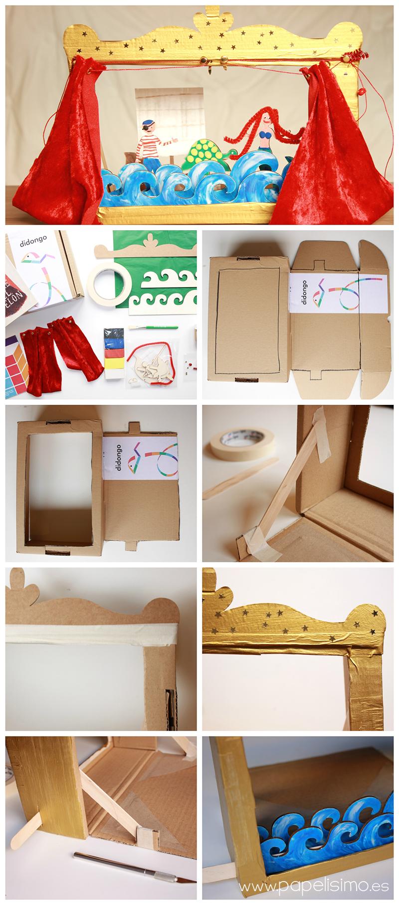 manualidades niño teatro con caja de carton estructura