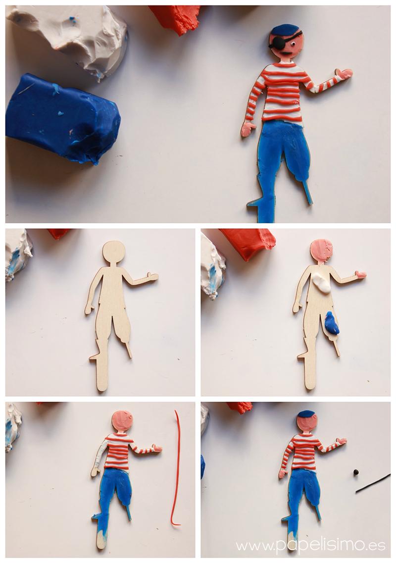 manualidades niño teatro con caja de carton marinero