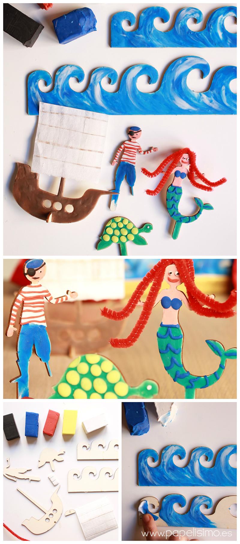 manualidades niño teatro con caja de carton pintar con plastilina