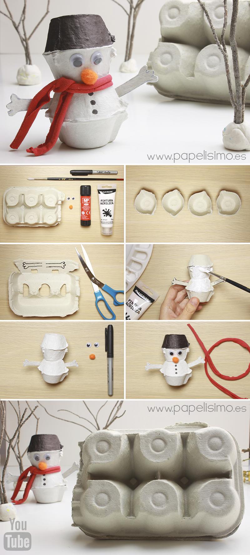 manualidades niños muñeco de nieve con vasos caja de huevos