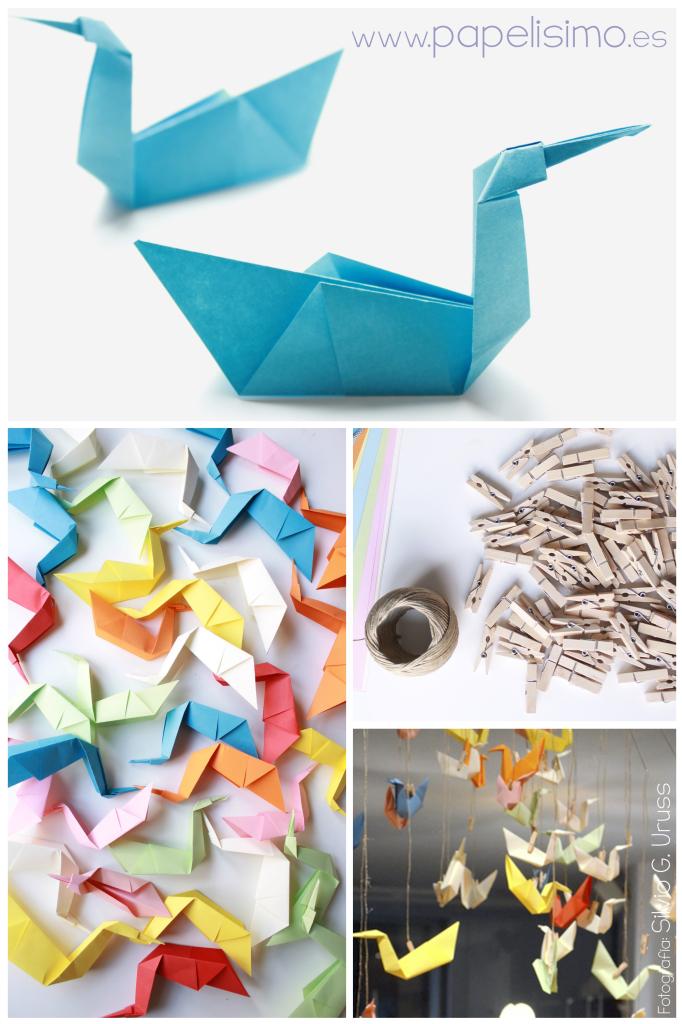 pajaro de papel movil  grulla origami paraguas 1