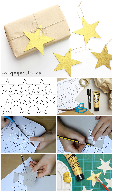 plantilla estrellas etiquetas regalos como hacer paso a paso