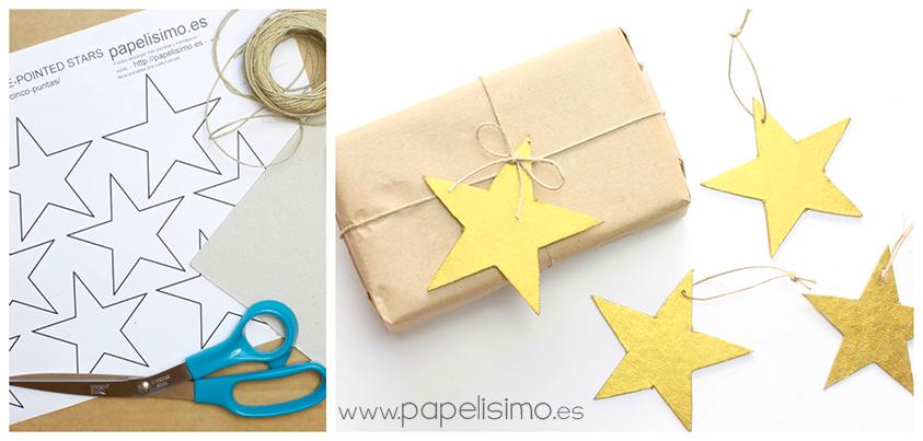 plantilla estrellas etiquetas regalos originales