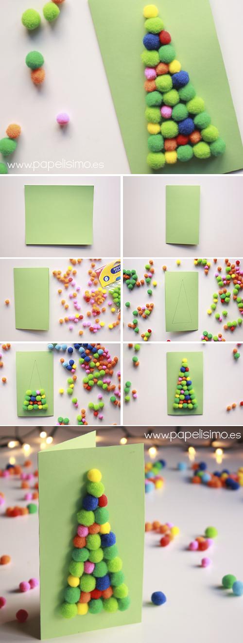 tarjetas de navidad hechas a mano originales arbol de pompones paso a paso