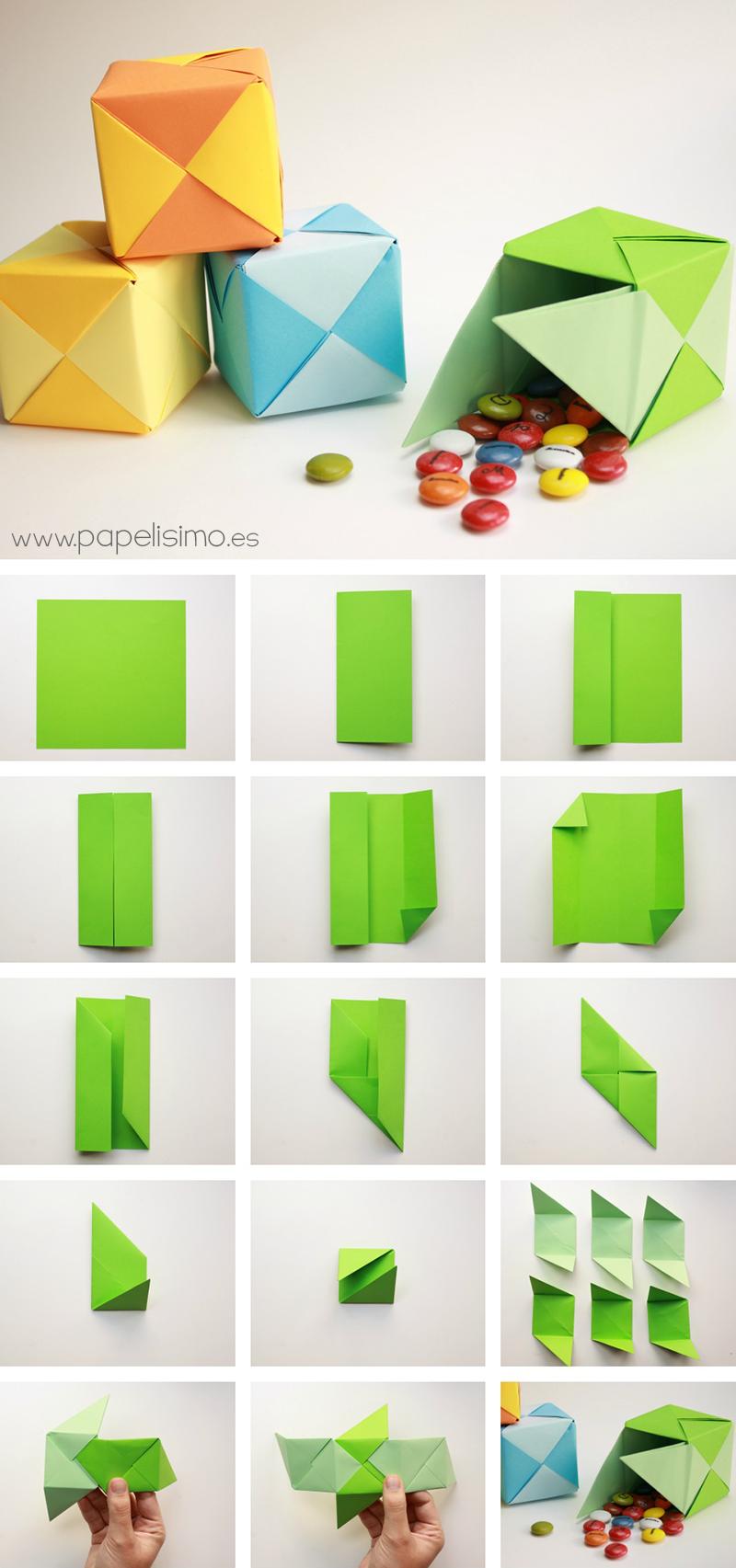 caja de papel para regalo con tapa paso a paso